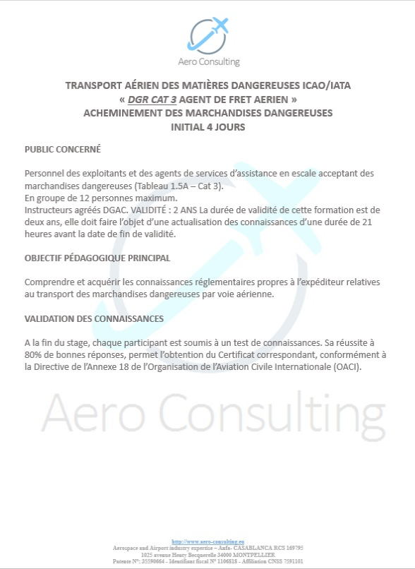 DGR CAT 3 - Dangerous Good Regulation IATA/OACI