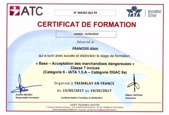 AERO CONSULTING Formations Aéonautiques - Certification ATC Acceptation des Marchandises Dangereuses Classe 7 - CAT 6 - IATA 1.5A - Catégorie DGAC 6a -IATA Dangerous Good Regulation Full Acceptance Including Class 7 (Radioactivity) as per IATA  DGR 1.5A